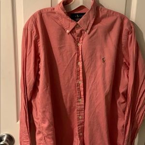 Men's pink polo button up size lg mint condition